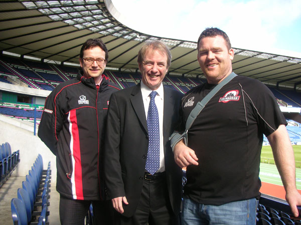 John Barrett MP with Edinburgh Rugby's Chief Executive, Nic Cartwright and Scotland prop Alan Jacobsen