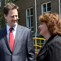 Nick Clegg with April Pond, Lib Dem candidate in Norwich North
