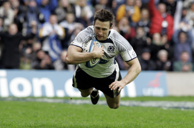 Scotland winger Simon Danielli scoring during the 26-6 win