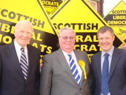 Glenrothes by-election candidate Harry Wills with local Fife MPs Ming Campbell and Willie Rennie