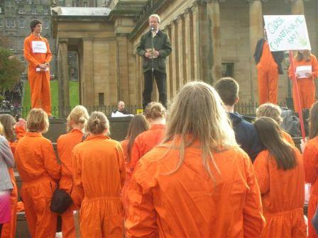 John Barrett MP addressing the Guantanamo Bay protest